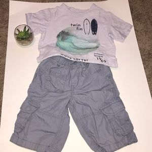 Boys GAP surf tee shirt and cargo short size 5
